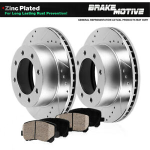 Rear Drill Slot Brake Rotors And Ceramic Pads For Chevy GMC 4X4 4WD 2WD RWD