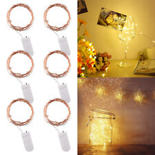 6PCS 20LED Micro LED Fairy Lights Copper Wire Button Battery Wedding Bedroom DIY