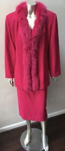 Fox Fur Collar Trim 2 piece Vintage pink formal party skirt Suit 12