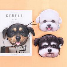 3D animales gato perro cremallera de felpa monedero mujeres cartera