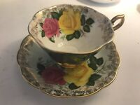 ROYAL ALBERT BONE CHINA  CUP & SAUCER PINK YELLOW CABBAGE ROSES TURQUOISE GOLD