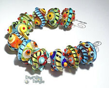 SPICE of LIFE Handmade Lampwork Beads - Turquoise Blue Red Yellow Green Bold 11
