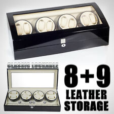 8+9 Watch Winder Storage Display Case Box Automatic Rotation Leather US