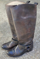 Frye Melissa Tall Side Zip Brown Leather Riding Boots Sz 7.5 B 76929 Equestrian