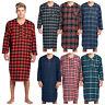 Ashford & Brooks Mens Flannel Plaid Long Sleep Shirt Henley Nightshirt Nightgown