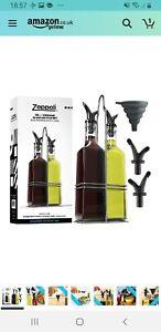 Zeppoli Oil & Vinegar Bottle Set with Stainless Steel Rack and Removable Cork