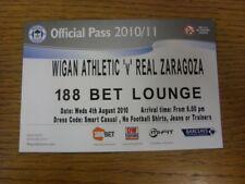 04/08/2010 Ticket: Wigan Athletic v Real Zaragoza [Pre-Season Friendly] 188 Bet