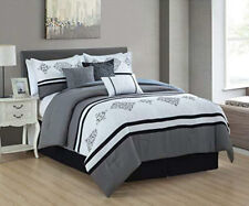 Dcp 7Pcs Oversized Embroidery Bed in Bag Microfiber Comforter Set Gray King