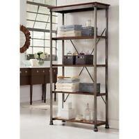 4 Shelf Bookcase Tower Restoration Bookshelves Gray Metal Hardware X Back Style