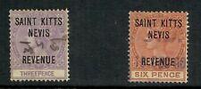 ST KITTS 1885 REVENUE 3d Violet + 6d ORANGE-BROWN FINE USED CAT £53.50