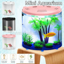 5L Mini Aquarium USB LED Ecological Fish Tank Half-moon LED Light AU