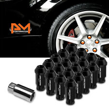 M12X1.5 Black JDM Open-End Acorn Hex Wheel Rim Lug Nuts+Extension 25mmx50mm 20Pc