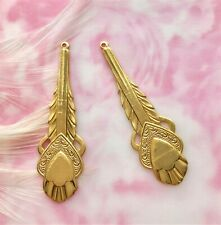 Heart Feather Earring Drops Stamping (B-127) Brass (2 Pieces) Art Deco Boho