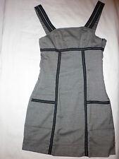 Robe TRF ZARA t.S  36  14 a  Gris chiné galon noir coutures blanches  NEUVE