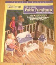 "PLASTIC CANVAS ""WICKER"" LOOK PATIO FURNITURE TABLE CHAIR  fits 11.5"" Barbie OOP"