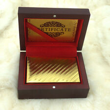 24k 999.9% Genuine Gold Plated Poker Playing Cards Deck With Wooden Box New Xmas