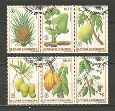 1981 fruit Sao Tomé-et-Principe série 6 timbres anciens oblitérés /T4378
