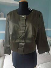 ⭐ Kaleidoscope Khaki Green Satin Cropped Jacket Party Size 20
