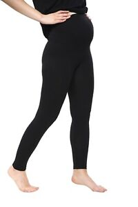 Thick Black Comfortable Maternity Cotton Leggings Full Ankle Length Pregnancy
