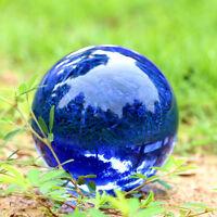 40mm Asian Rare Natural Quartz Blue Magic Cut Crystal Healing Ball Sphere +Stand