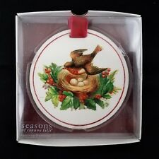 """Seasons Of Cannon Falls Round 4"""" Christmas Ornament Bird With Holly"""