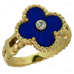 Rare VAN CLEEF & ARPELS Vintage Alhambra Diamond Lapis Lazuli Yellow Gold Ring