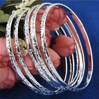 5Pcs/Set 925 Silver Filled Carving Cuff Bracelet Bangle Women's Jewelry Gift