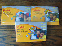 KODAK PREMIUM PHOTO PAPER 100 SHEETS HIGH GLOSS 4X6 3 PACKS NEW