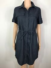 NEXT Ladies Blue LINEN Mix Shirt Dress Size 6 Petite With belt