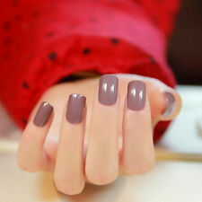 24ps Pure Nail Patch Milk Brown Nail Art Tip Short Square Full Cover False Nails