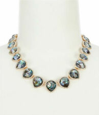 """New Anne Klein Gold-Tone Abalone Stone & Crystal Collar Necklace, 16"""" + 3"""""""