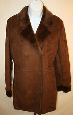 Appraisal Womens Ladies Brown Plush Double Breasted Winter Coat Jacket Sz Small