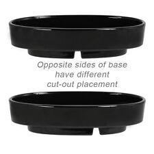 "Japanese Ikebana Vase SUIBAN 12.5""L Oval Shape/Black Ceramic/Made Japan"