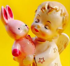 RARE! Cute Boy Angel Pink Bunny Rabbit Vintage Figurine Fine A Quality Napco
