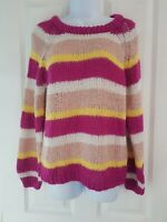 Womens Vera Moda Jumper size small pink yellow stripe warm winter soft casual