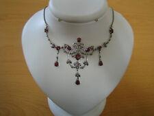Ruby, Marcasite Art Deco Design Necklace Nr Fine Vtg/Antique 925 Solid Silver