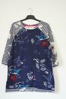 NEW EX JOULES UK SIZE 10 12 NAVY FLORAL STRIPE PART JERSEY PRINT BLOUSE TOP