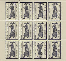1971 STRIKE MAIL MAIL WITHOUT 4/- BLK ON BROWN COMMEMORATIVES FULL SHEET OF 12