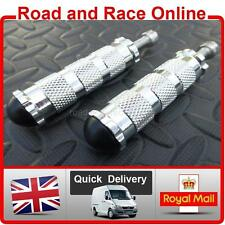 Pair Foot Pegs For Rearsets / Custom / Special 8mm Silver Including Bolts / Caps