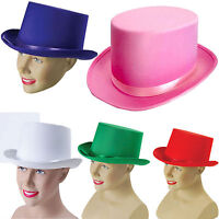 New Adults Satin Top Hat with Ribbon Fancy Dress Party Hat