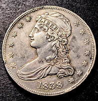 1838 Capped Bust Silver Half Dollar 50c Reeded Edge GR-14 R-3 High Grade Cud