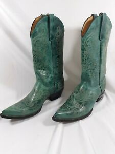 Western Teal Turquoise Embroidered Cowboy Boots~9 B~Old Gringo Yippee Ki Yay