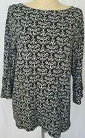 J Jill Black Tan Floral Jersey Knit 3/4 Bell Sleeve Boat Neck Tunic Top Large