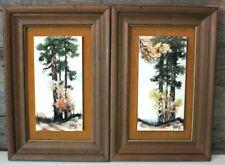 Vintage Signed Clyde E Gray Framed Tile Art East Texas Artist Set of 2 Landscape