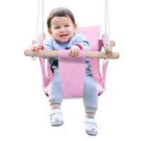 Baby Canvas Hanging Swing w/ Cotton Home Outdoor Hammock Toy for Toddler Pink