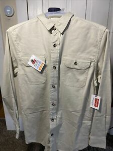 Wrangler Men's Long Sleeve Button Up Solid Twill Shirt Pelican / Tan Size Small