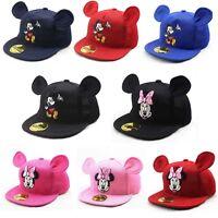 Summer Kids Cartoon Baseball Snapback Cap Boys Girls Mickey Minnie Mesh Hats