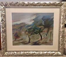 EUGENIO DEGANI (Italy 1923-2000) Mid Century Modern Oil Painting Abstract Trees