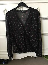 Miss Selfridge Black & Pink Floral Print Cross-Over Blouse (Petite)