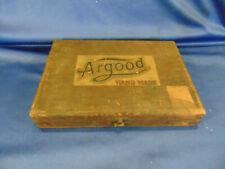 """Antique wooden cigar box ARGOOD Hand Made Pennsylvania 9"""" x 6 1/4"""" x 1 1/2"""" art"""